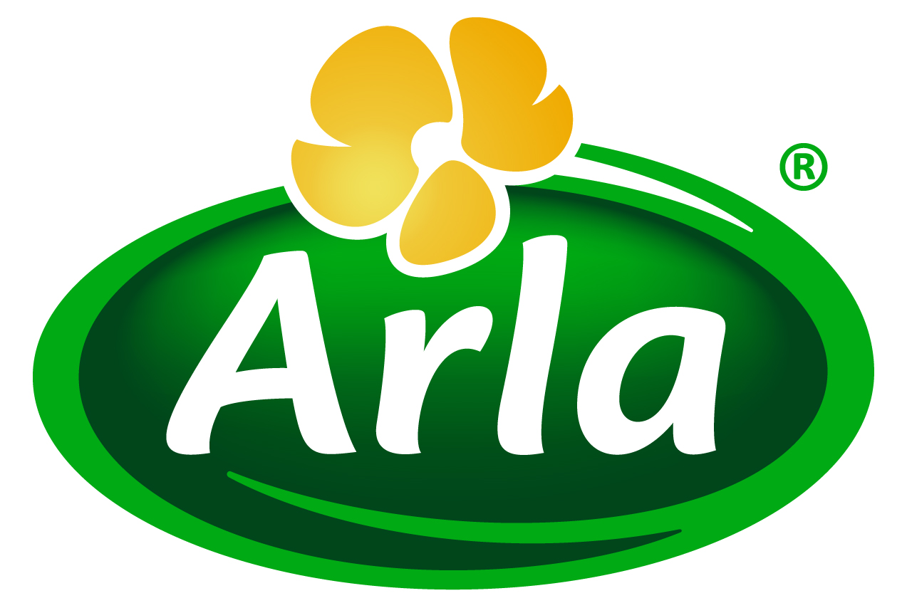 arla logo white letters green oval background yellow flower on top