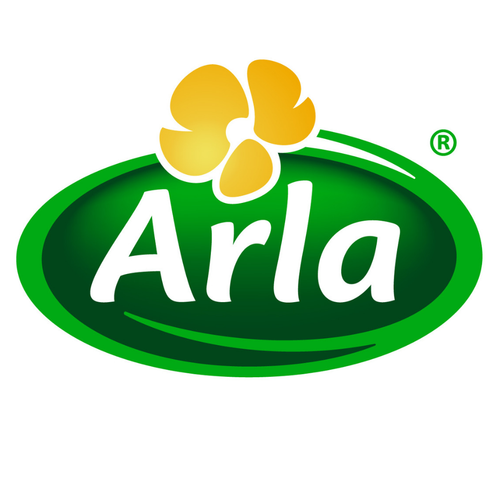 arla logo large white letters green oval background yellow flower on top