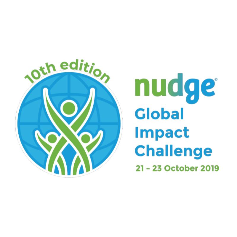 nudge global impact challenge 10th edition logo globe blue green